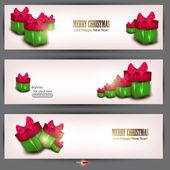 Set di tre striscioni con bellissimi regali. illustrazione vettoriale — Vettoriale Stock
