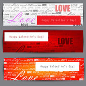 Set of three stylized banners. Valentine's Day. Vector backgroun — Vector de stock