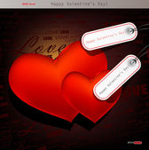 Two red hearts. Valentines day. Vector background — Stock Vector