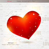Beautiful red heart with diamonds. Valentines day. Vector backgr — Stock Vector