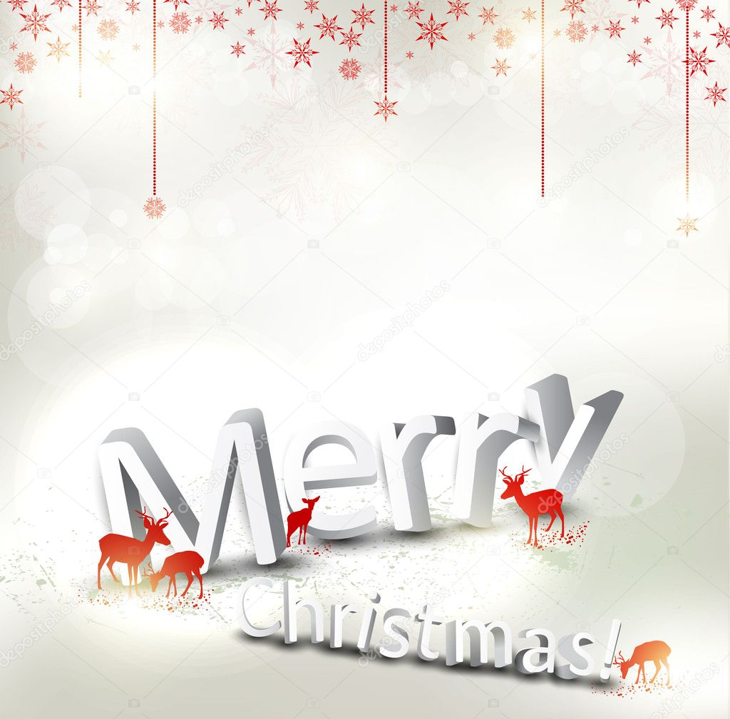 Beautiful Christmas background with reindeer and place for text.  Stock Vector #8205322