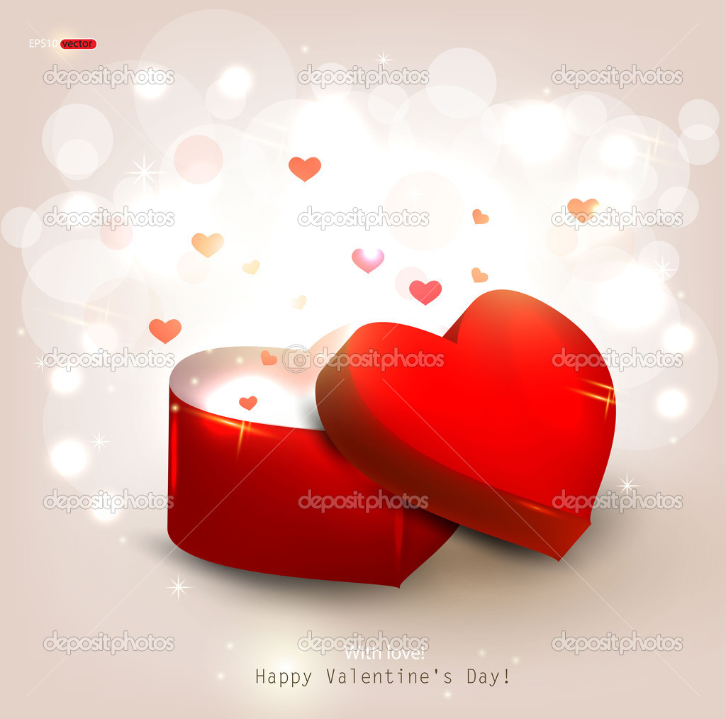 Open heart gift present. Vector illustration — Vettoriali Stock  #8205326