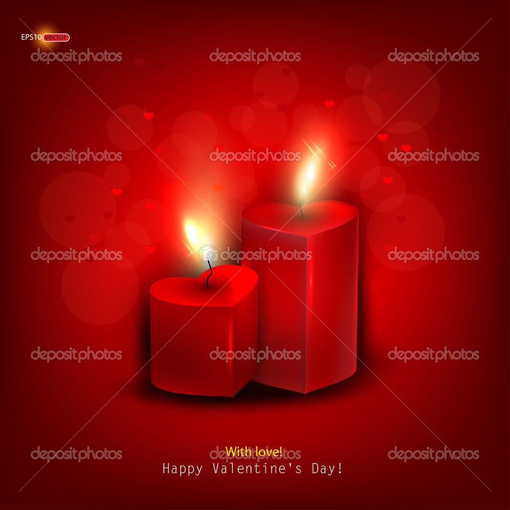 Two red burning heart shaped candles on dark red background. Vector background — Stock Vector #8205329