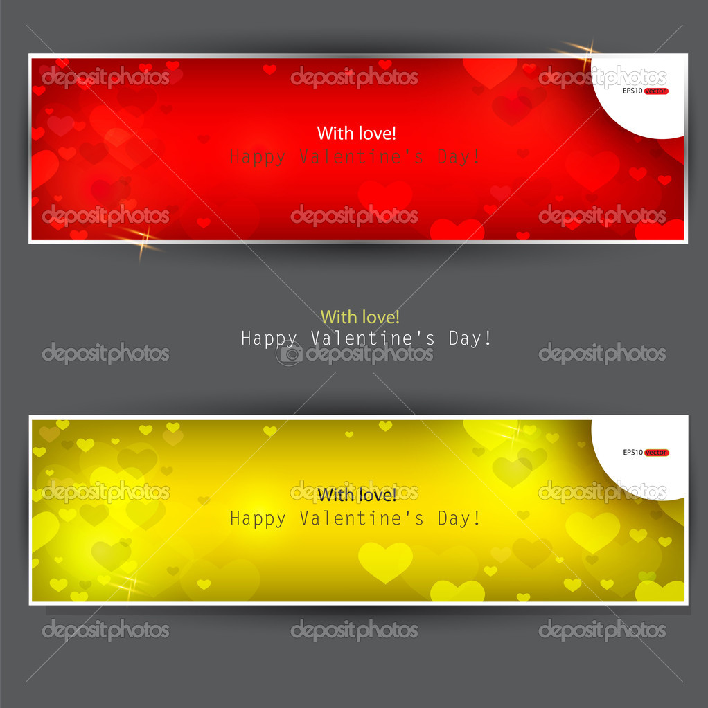 Set of  banners with  hearts. Valentine's Day. Vector background — Stock Vector #8205360