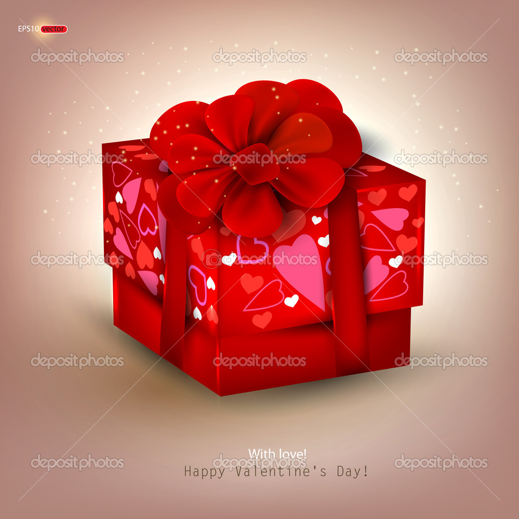 Beautiful red gift and place for text. Valentine's Day. Vector background — Imagen vectorial #8205374