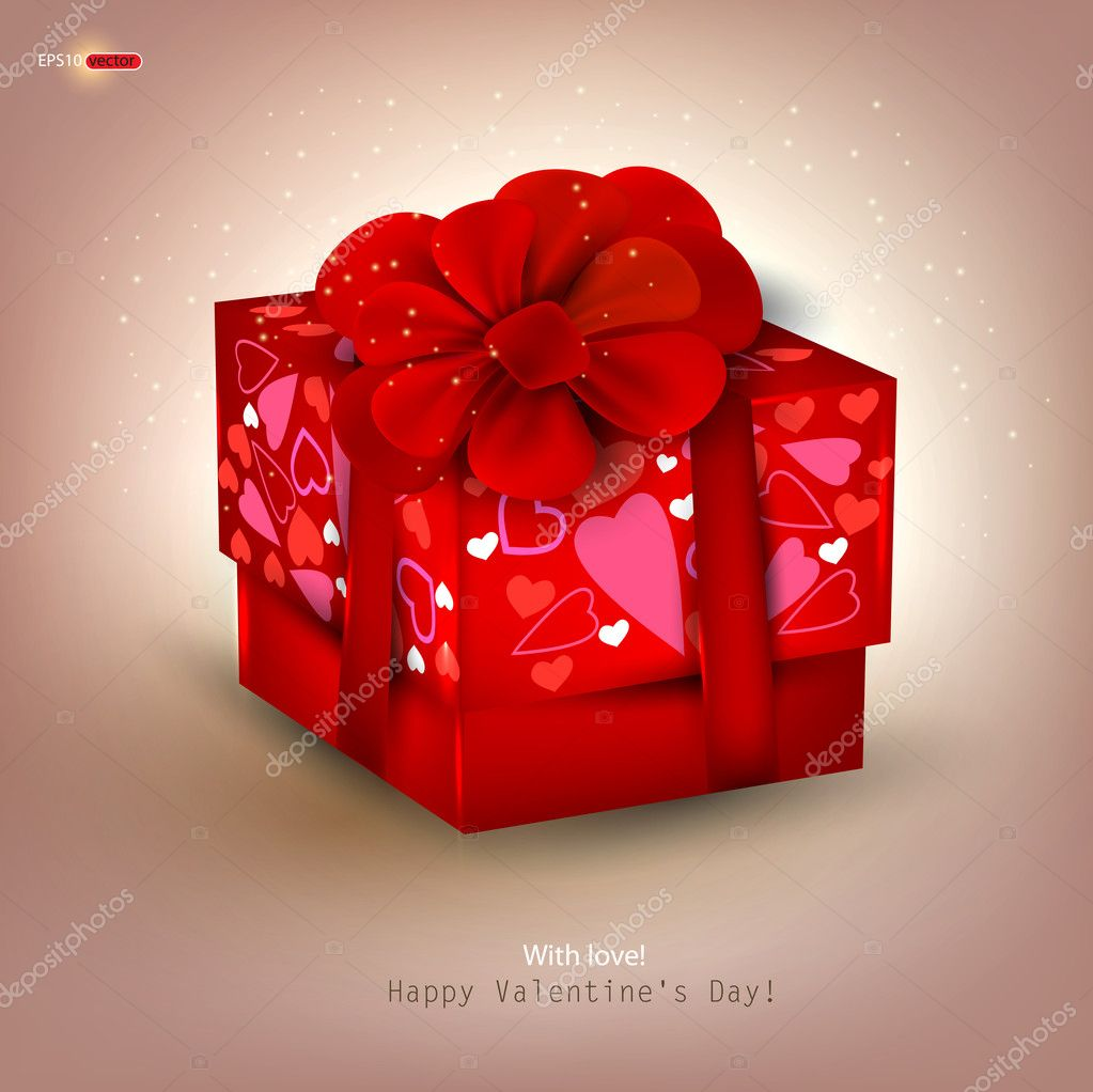 Beautiful red gift and place for text. Valentine's Day. Vector background — Stok Vektör #8205374