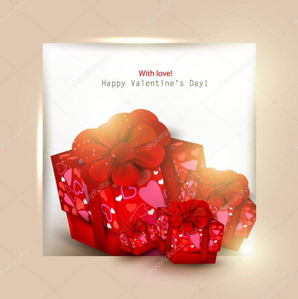Beautiful background with red gifts and place for text. Valentine's Day. Vector illustration — ベクター素材ストック #8205392