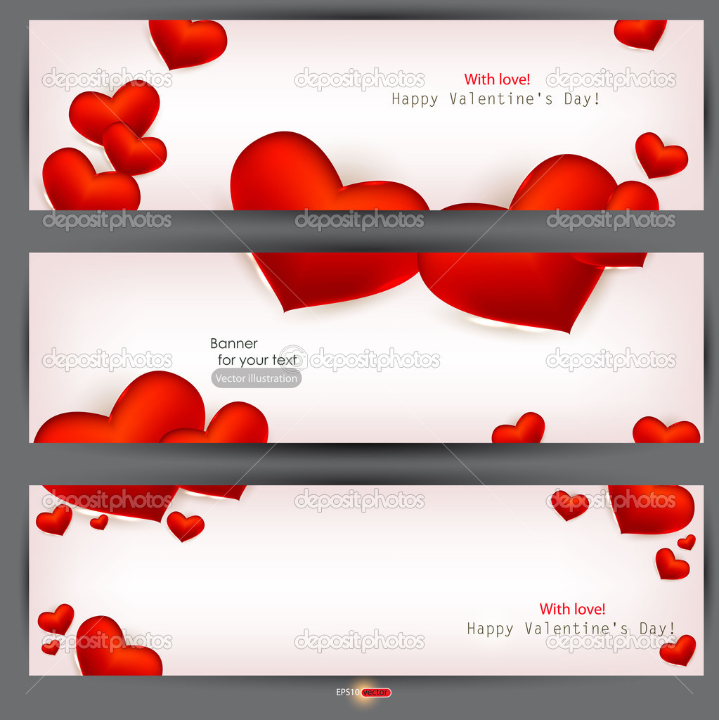 Set of three banners with red hearts. Valentine's Day. Vector background — Stock Vector #8205396