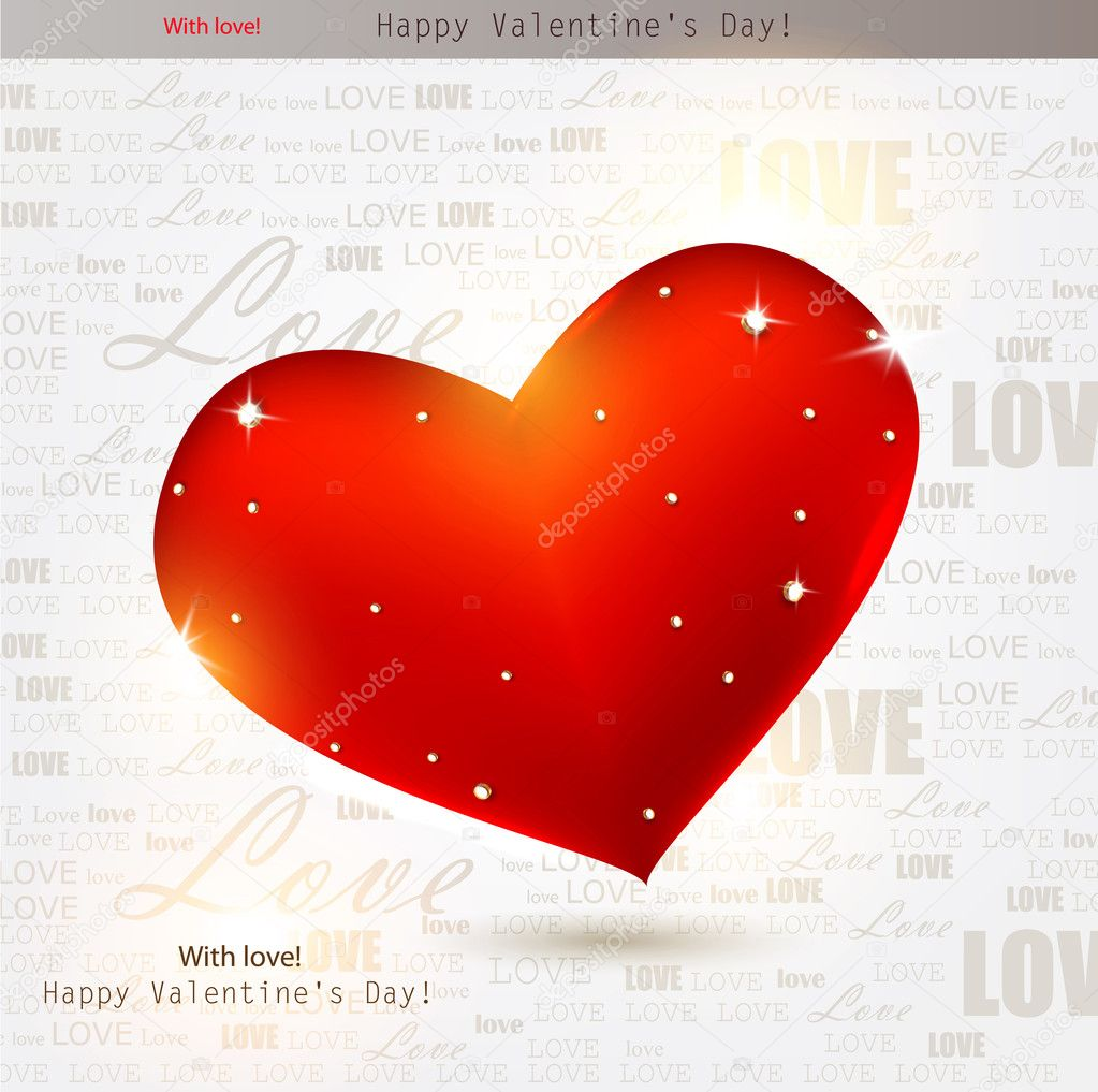 Beautiful red heart with diamonds. Valentines day. Vector background — Stock Vector #8205453