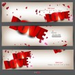 Set of three banners with words LOVE and hearts. Valentine's D — Stock Vector