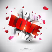 "3D word ""LOVE"" with hearts. — ストックベクタ"