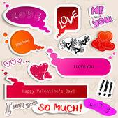 Barevné papírové bublina pro řeč. valentinky den. — Stock vektor
