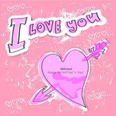 Rosa hjärta på rosa bakgrund. älska bakgrund — Stockvektor