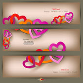 Set of three banners with paper hearts. Valentine's Day. Vector — Stock Vector