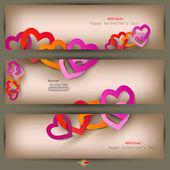 三横幅纸做的爱心与设置。情人节那天。矢量 — 图库矢量图片