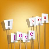 Vector witte affiches met inscriptie - ik hou van je. — Stockvector