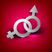Fond abstrait vector avec symbol féminin masculin — Vecteur
