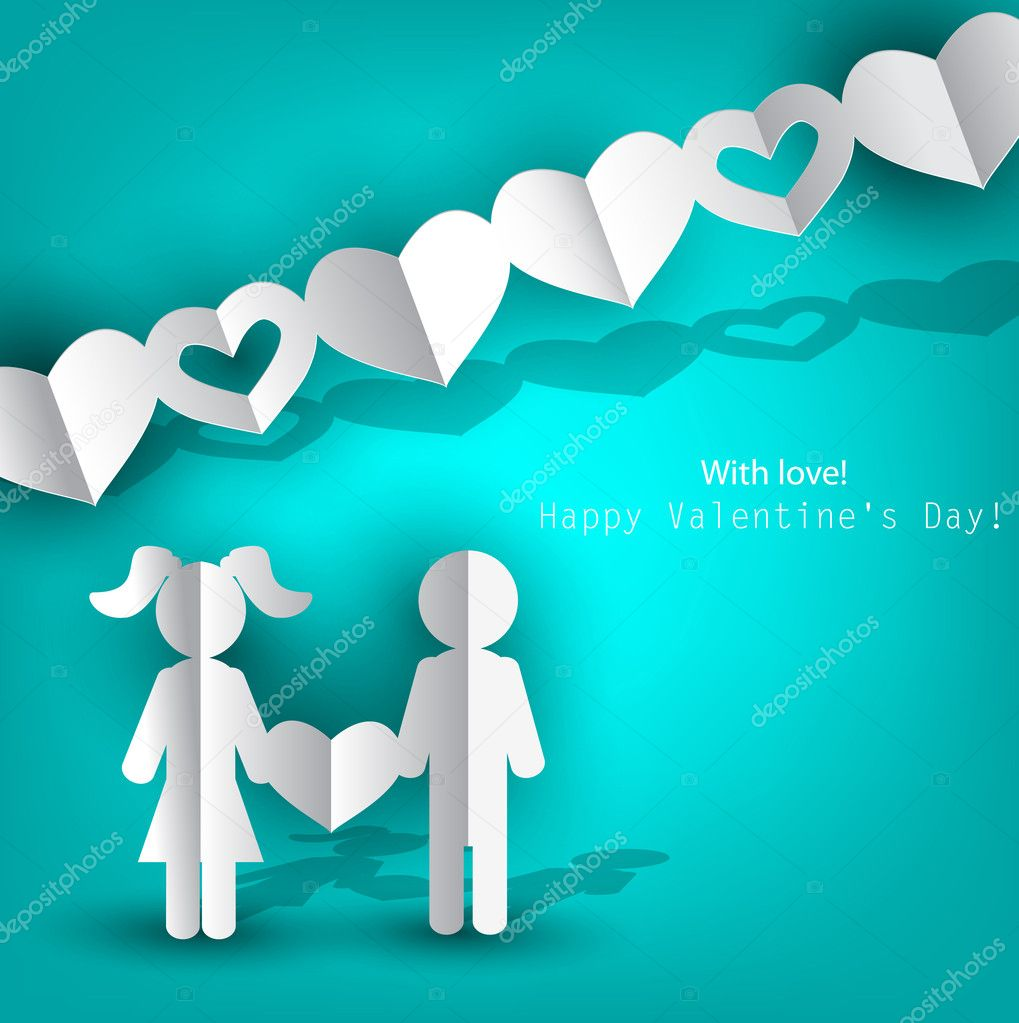White  paper Men and Woman with heart on blue background. Vector illustration — Imagens vectoriais em stock #8527690