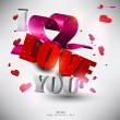 "3D word ""LOVE"" with hearts. — Imagen vectorial"