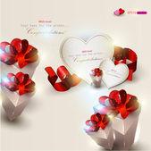 Elegante sfondo con regali e carte regalo — Vettoriale Stock