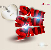 3d red text SALE. Vector background — Stock Vector