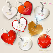 Set of bubbles, stickers, labels, tags. Shape of hearts. Valent — Stok Vektör