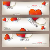 Set of three banners with hearts. Valentine's Day. Vector backgr — Stock vektor