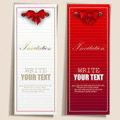 Card notes with ribbons. Red and white invitations — Stock Vector