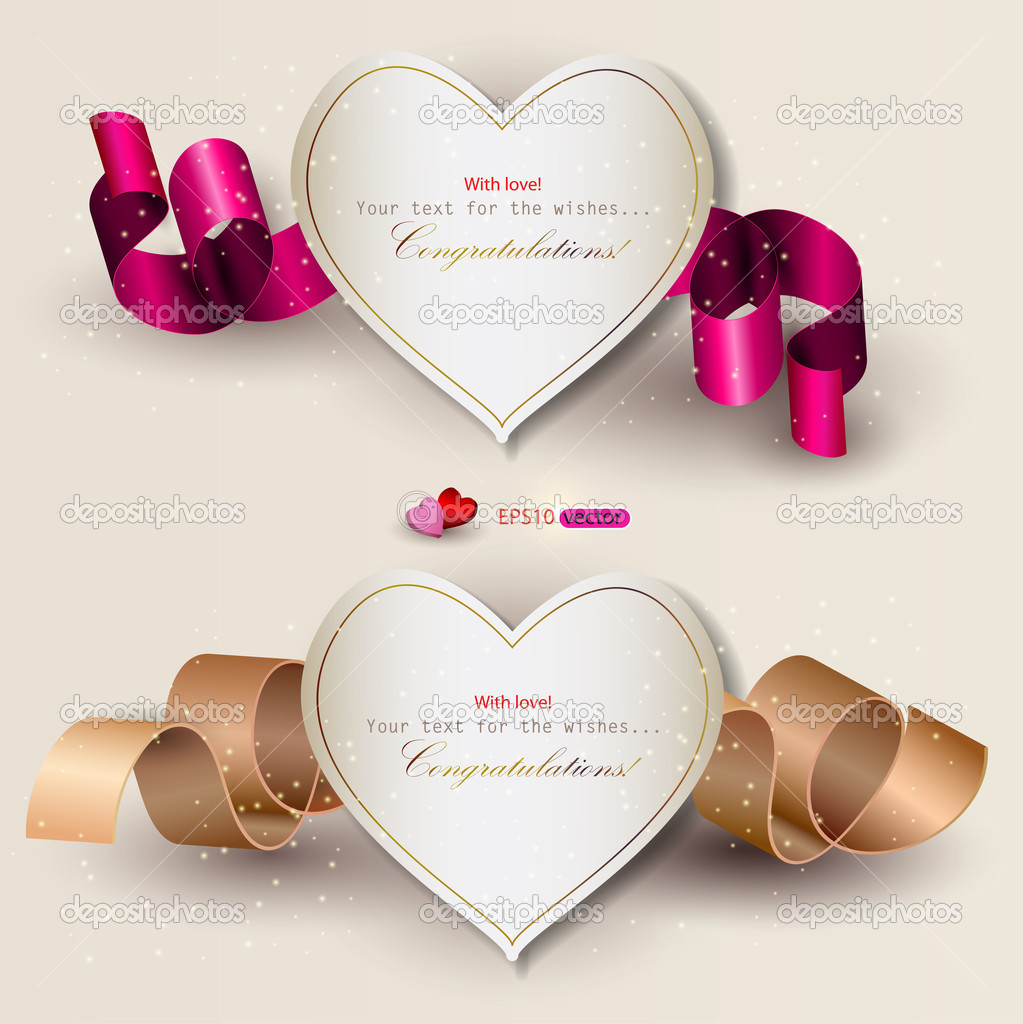 of gift cards with ribbons. Vector background - Stock Vector ...