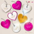 Set of bubbles, stickers, labels, tags. Shape of hearts. Valenti — Stock Vector