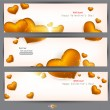 Set of three banners with golden hearts. Valentine's Day. Vector — Stock Vector