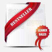 Bestseller. röd fana och etikett. vektor set — Stockvektor