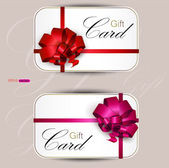 Collection of gift cards with ribbons. Vector background — Stock Vector
