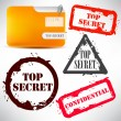 "Folder with documents stamped ""Top Secret"" — Stock Vector"