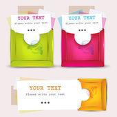 Fogli di carta con buste per testo — Vettoriale Stock