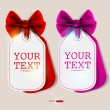 Royalty-Free Stock Immagine Vettoriale: Card notes with ribbons. Red and pink invitations