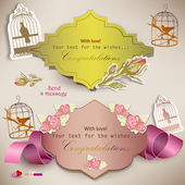 Set of paper speech bubbles. Scrapbook elements. Vintage style — Stockvector