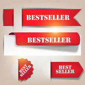 Bestseller. Red banners and labels. Vector set — Stock vektor