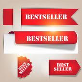 Bestseller. röd banderoller och etiketter. vektor set — Stockvektor