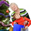 Grandmother and little girl with gift bags near Christmas tree. — Stock Photo