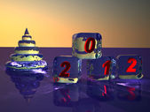 Pyramid as New Year's fur-tree and cubes from ice. Figures 2012. — Stock Photo
