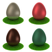 Set: colourful matte eggs on a grass — Stock Photo