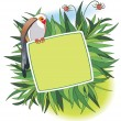 Banner with colorful bird - Imagen vectorial