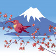 Bird on a background of Mount Fuji — Stock Vector #10249238