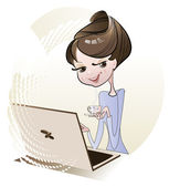 Girl and laptop — Stock Vector
