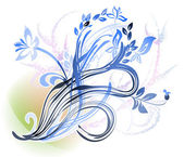 Several ornamental flowering branches — Stock Vector