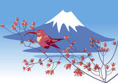 Bird on a background of Mount Fuji — Stock Vector
