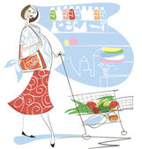 A pregnant woman in a supermarket — Stock Vector