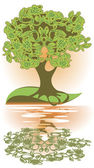 Reflection of tree in the water — Stock Vector