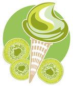 キウイのアイス クリーム コーン — ストックベクタ